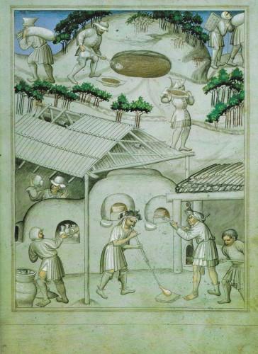 Atelier de verrier, Manuscrit des voyages de Sir John Mandeville, XIVe siècle.